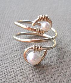 Wire Jewelry Patterns, Wire Jewelry Designs, Handmade Wire Jewelry, Wire Wrapped Jewelry, Metal Jewelry, Beaded Jewelry, Diy Wire Jewelry Rings, Bijoux Fil Aluminium, Homemade Jewelry