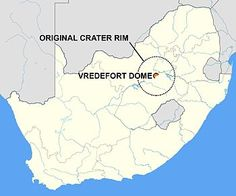 Vredefort crater - South Africa The asteroid that hit Vredefort is estimated to have been one of the largest ever to strike Earth (at least since the Hadean Eon some four billion years ago), thought to have been approximately 5–10 km (3.1–6.2 mi) in diameter. The bolide that created the Sudbury Basin could have been even larger.[3]  The original crater was estimated to have a diameter of roughly 300 km (190 mi),[2] although this has been eroded away. It would have been larger than the 250…