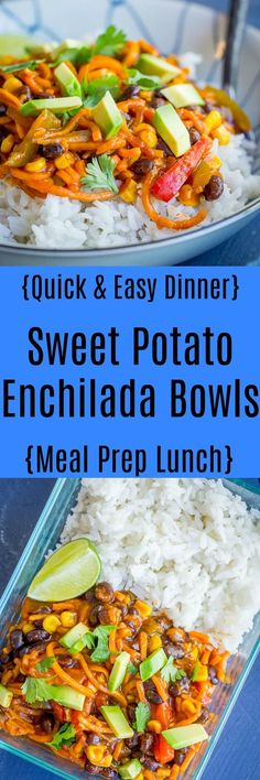 Sweet Potato Enchilada Bowls - These delicious bowls are quick and easy to make and are great for dinner or a meal prep lunch!  Vegetarian/Vegan/Gluten Free