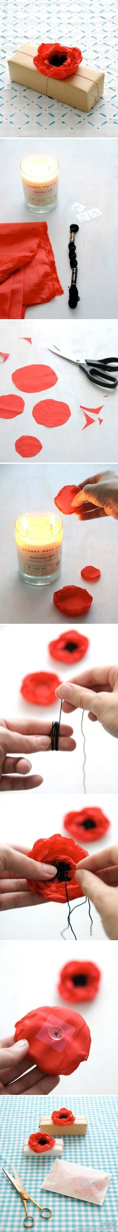 DIY lovely poppy flower petal gift decoration - be sure to use polyester fabric (the kind of umbrella m ...