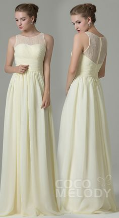 b1fb6200aab Hot Sale Sheath-Column Illusion Natural Floor Length Lace Chiffon Light  Yellow Sleeveless Zipper Bridesmaid Dress COZK16005  bridesmaiddresses   cocomelody