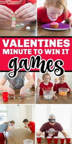 Kids and adults alike will love these conversation heart Valentines minute to win it games! They're easy to play, hilarious to watch, and inexpensive to setup! Perfect for Valentine's Day classroom parties, game nights, and family fun! Valentine Bingo, Valentines Day Activities, Valentines Day Party, Valentines For Kids, Valentines Games For Couples, Valentine Ideas, Valentine's Day Party Games, Halloween Party Games, Class Party Ideas