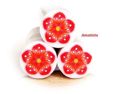 Polymer clay flower cane: Raw polymer clay cane, Millefiori cane supplies, Red and orange flower cane - Supplies for jewelers