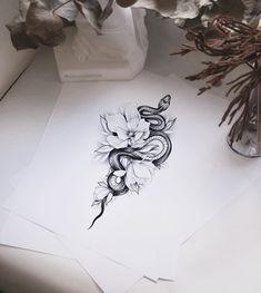 Tattoo Snake, Snake And Flowers Tattoo, Dragon Tattoo With Rose, Creative Tattoos, Unique Tattoos, Small Tattoos, Hand Tattoos, Body Art Tattoos, Pretty Tattoos