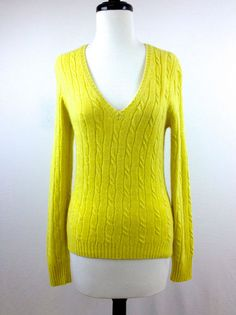 J Crew Womens Yellow V Neck Cashmere Wool Pullover Sweater Cable Knit s Nice | eBay