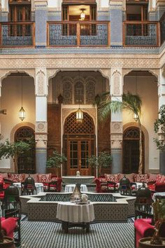'The original Moorish architecture style, a touch of English antique furniture and modern amenities are perfectly matched. The attentive staff welcomes you in a refined décor mixed with Moorish. Architecture Design, Indian Architecture, Moroccan Design, Moroccan Style, Moroccan Interiors, Courtyard House, Moorish, Traditional House, House Plans