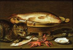 Clara Peeters (1589/1594-ca.1657) — A still life with carp in a ceramic colander, oysters, crayfish, roach and a cat on the ledge beneath (1280×875)