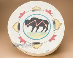 "Painted Native Tarahumara Hand Drum 16"""" -Buffalo"