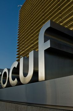 Instituto CUF Porto Signage Design by António Queirós Design , via Behance    3D letters w/ dramatic depth