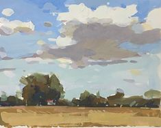 Late Summer Field by Bernard Dellario, Gouache, 8 x 10