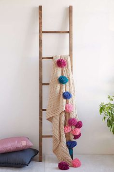 Rustic wooden blanket ladder