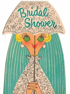 1950's Vintage Bridal Wedding Shower Invitations 2 Small Hallmark So Cute USED | eBay