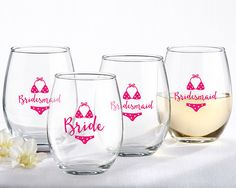 Bride and Bridesmaids Beach Bikini 15 oz. Stemless Wine Glass (Set of 4). The perfect gift for the bride and bridesmaids relaxing before the big day on the beach, we have our Bride and Bridesmaid Beach Bikini 15 oz. Stemless Wine Glass set! You and your girls can all have your own special glass to sip a favorite vintage from and keepsakes to remember this special time for years to come. Featuring a cute little pink polka dot bikini to reflect your beach theme, these sizable glasses come with…