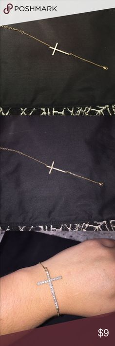 """Cross bracelet Gold plated side cross bracelet. Pair it with the side cross necklace! 6"""" from clasp to first loop hole Jewelry Bracelets"""