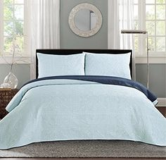 Looking bedroom decoration ideas. New Queen / Full Bed Luxury 3-piece Navy Blue / Light Blue Reversible Bedspread Coverlet set Solid Embossed Bedding - http://aluxurybed.com/product/new-queen-full-bed-luxury-3-piece-navy-blue-light-blue-reversible-bedspread-coverlet-set-solid-embossed-bedding/