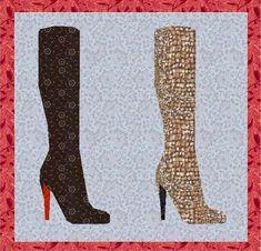 Elegant boot paper pieced block | Craftsy