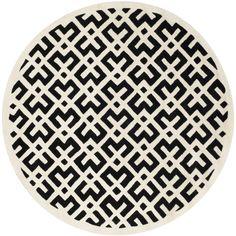 Handmade Moroccan Black Wool Rug (7' Round) | Overstock.com