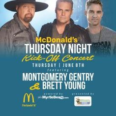 Montgomery Gentry and Brett Young will be performing at the Kick-Off Concert Thursday June 8th! Oh what a time it will be in Myrtle Beach June 8-11, 2017! | Carolina Country Music Festival | Myrtle Beach | South Carolina | http://www.visitmyrtlebeach.com/things-to-do/events/carolina-country-music-festival/