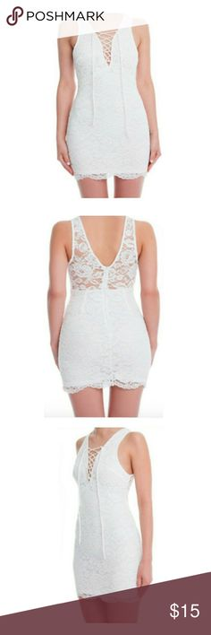 Lush Clothing White Lace Mini Dress NWT From Lush Clothing. White lace mini dress with scalloped lace bottom. V-neck style with lace up front. Transparent lace back. ?Back zipper. Fully lined.  Nylon  NWT Small fits up to 4/6 Medium fits a 6/8  Ships from N.Y.  Bundle and SAVE!!! Lush Dresses Mini
