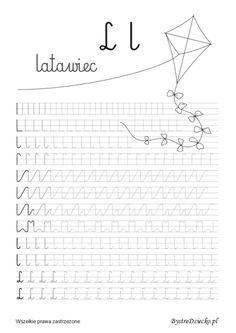 L - nauka pisania literek dla dzieci,  Anna Kubczak Reading Skills, Writing Skills, Writing Prompts, Baby Education, Cursive, Handwriting, Montessori, Worksheets, Coloring Pages