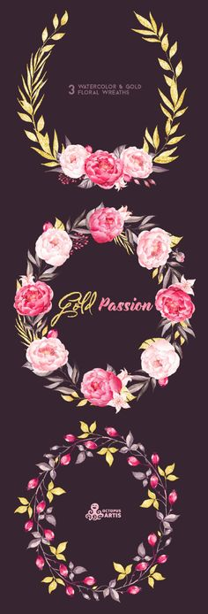 Gold Passion: 3 Wreaths, Watercolor hand painted clipart, peonies, floral wedding invite, pink, greeting card, diy art, flowers, glitter