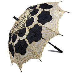 Battenburg Lace Parasol Black and Gold by Janny Dangerous Fancy Umbrella, Vintage Umbrella, Sun Umbrella, Under My Umbrella, Sun Parasol, Lace Parasol, Cute Umbrellas, Umbrellas Parasols, Casual Cosplay