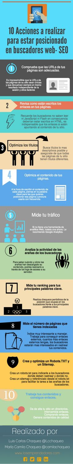 10 acciones para posicionar tu web Vía: www.losemprendedores.com #infografia #infographic #seo
