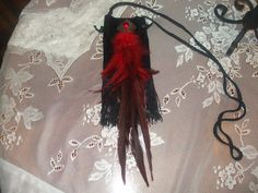 Red feather and stone by LadyIsabellasAngel on Etsy