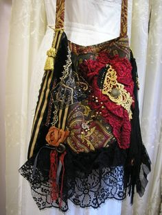 Beautiful fabric, lace, velvet bag