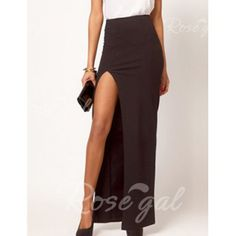 Alluring Solid Color Side Jag Packet Buttock Women's Long Skirt