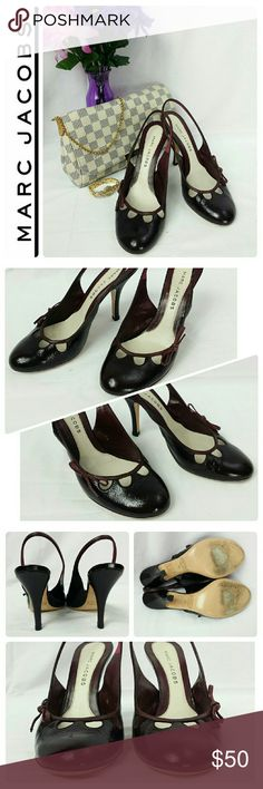 """AUTH MARC JACOBS Patent Leather Slingback Pumps Made in Italy. Eggplant Patent Leather Upper. Round toe. Slip on Slingback style.  Perforated detail with a dainty bow on the vamp. Leather lined & padded at foot bed. 4"""" Patent leather covered heel. Bottom says Size 39. Width measures 3"""", Toe to heel 10"""" Both measured inside the shoe. These beauties are in mint condition w/minimal signs of wear. * Insoles cleaned then sanitized w/ alcohol*  Ready for you to wear & enjoy!  Orig box/dust bag not…"""