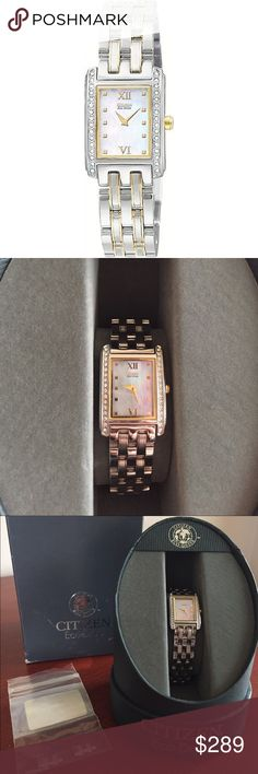 LIKE NEW💖Citizen Women's Eco-Drive Palidoro Watch Like new, hardly any scratches on band. Includes links to adjust size. Comes in original packaging. Purchased from local jeweler for $300 (plus tax). Item #EW8084-53D. Jeweler description: Powered by the sun or any other light source. Polished case is stainless steel. Brick link bracelet with Swarovski crystals on bezel. Mother of pearl dial with gold-tone hands and Roman numerals. Bracelet with invisible, double locking clasp…