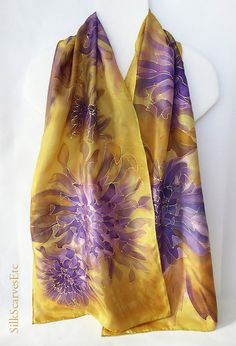 Hand painted silk scarf Gold purple silk scarf by SilkScarvesEtc