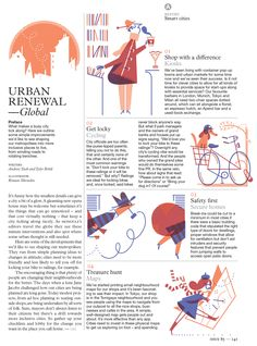 Roman Muradov (A bunch of spots for the Monocle's 15 ways to. Editorial Design Layouts, Magazine Layout Design, Magazine Layouts, Newspaper Design Layout, Book Layout, Magazin Design, Journal Du Design, Buch Design, Magazine Illustration