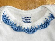 Crochet Edge Onesie Blue by LaughRabbitJr on Etsy