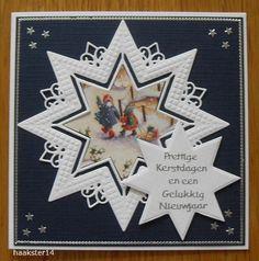 Voorbeeldkaart - geen titel - Categorie: Stansapparaten - Hobbyjournaal uw hobby website Die Cut Christmas Cards, Chrismas Cards, Simple Christmas Cards, Easy Christmas Crafts, Xmas Cards, Christmas Themes, Embossed Cards, 3d Cards, Marianne Design