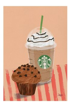 by Ivy Niu, via Behance Starbucks Art, Starbucks Drinks, Starbucks Coffee, Fall Drawings, Cute Drawings, Food Wallpaper, Disney Wallpaper, Bubble Stickers, Cute Stickers