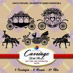 This listing is for a DIGITAL pack of CARRIAGE WITH HORSES - CLIPART FOR CARDMAKING AND WEDDING STATIONERY  It includes:  ▪ 9 files (27 PNG, SVG and