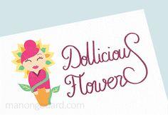 Logo de l'entrepreneuse Dollicious Flowers, créatrice de poupées miniatures #Creation #Logo #Creatrice #Entrepreneuse #Poupee #Miniature #Fleurs #Papier #Croquis #Couleurs #Réalisation #Gaphisme