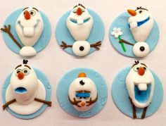 Edible Fondant Disney Frozen 3D Olaf Inspired Cupcake Toppers