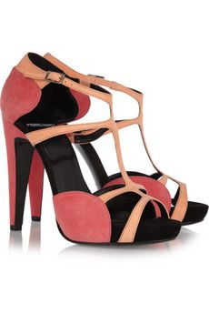 Pierre Hardy Two-tone suede sandals   THE OUTNET