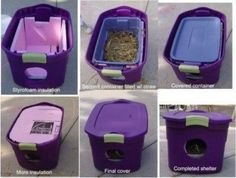Outdoor cat house to help the stray kitties in this cold weather- be sure to fill it with hay or bedding to help keep it warm inside!
