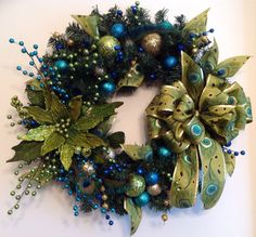Peacock Holiday Wreath by CustomCreationsMore on Etsy