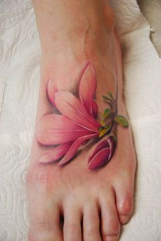 Watercolor Magnolia Tattoo On Left Foot