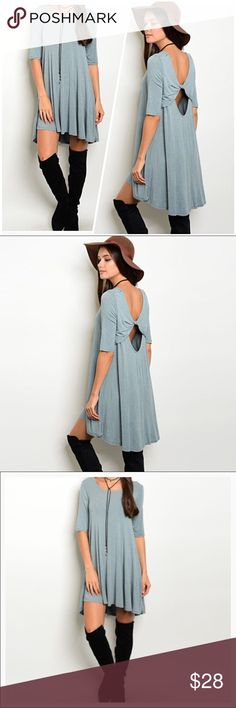 Light Blue Tunic Dress Gorgeous 3/4 sleeve round neck jersey tunic dress.  This dress is super soft and a perfect addition to your fall wardrobe. The back detail is so unique and flattering Maronia Dresses Midi