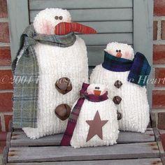 Country snowmen pattern 3 sizes primitive country snowmen