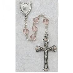 6X6Mm Glass Pink Heart Rosary