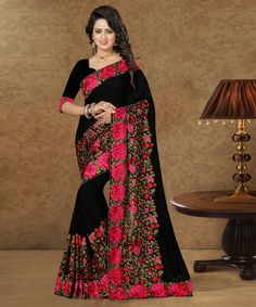 Black Georgette Embroidery Work Saree 79403