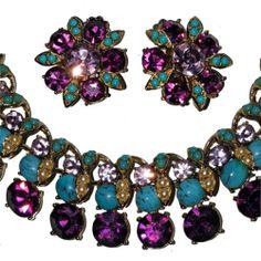 Trifari Pat Pend Faux Turquoise Amethyst Necklace Clip Earrings Set | eBay