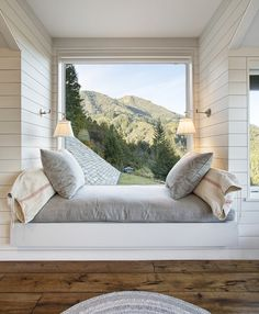 'Mountain lodge eclectic,' CA. Michael Rex Architects, Sausalito. Kee Sites photo.   double-duty space:  lovely reading/day-dreaming nook or alcove bed/night-dreaming retreat...